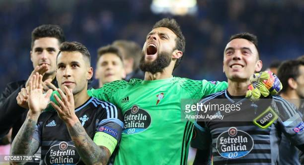 Celta Vigo players celebrate reaching semifinal after the UEFA Europa League quarter final second leg match between KRC Genk and Celta Vigo at...
