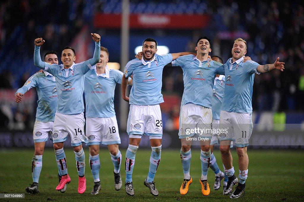 Celta Vigo players John Guidetti (#11), Fabian Orellana (#14), Gustavo Cabral (#22) and Pablo Hernandez (#8) after Celta beat Club Atletico de Madrid 3-2 in the Copa del Rey Quarter Final 2nd Leg match at Vicente Calderon Stadium on January 27, 2016 in Madrid, Spain.
