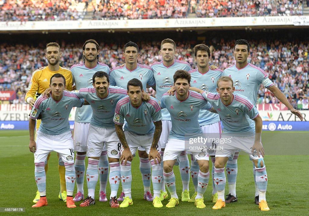 Celta Vigo players pose before the Spanish league football match Club Atletico de Madrid vs Celta de Vigo at the Vicente Calderon stadium in Madrid on September 20, 2014. The game ended in a draw 2-2.
