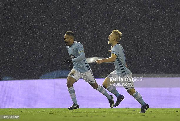 Celta Vigo's Danish midfielder Daniel Wass celebrates after scoring during the Spanish Copa del Rey quarter final second leg football match RC Celta...