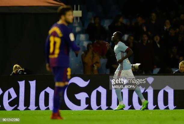 Celta Vigo's Danish midfielder Pione Sisto celebrates after scoring a goal during the Spanish Copa del Rey football match RC Celta de Vigo vs FC...