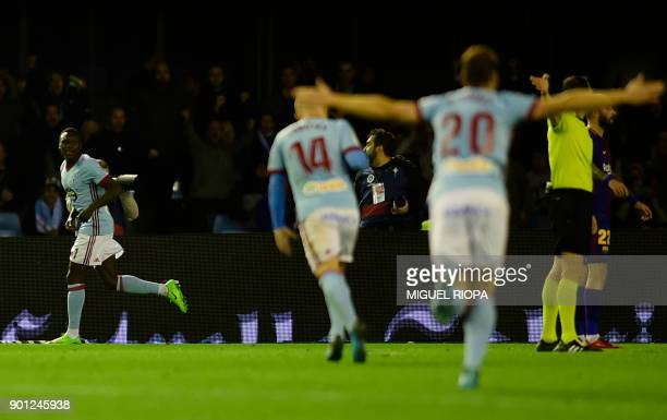Celta Vigo's Danish midfielder Pione Sisto celebrates scoring a goal during the Spanish Copa del Rey football match RC Celta de Vigo vs FC Barcelona...
