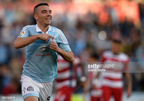 Celta Vigo's forward Iago Aspas celebrates after scoring a goal during the Spanish league football match RC Celta de Vigo vs Granada FC at the...