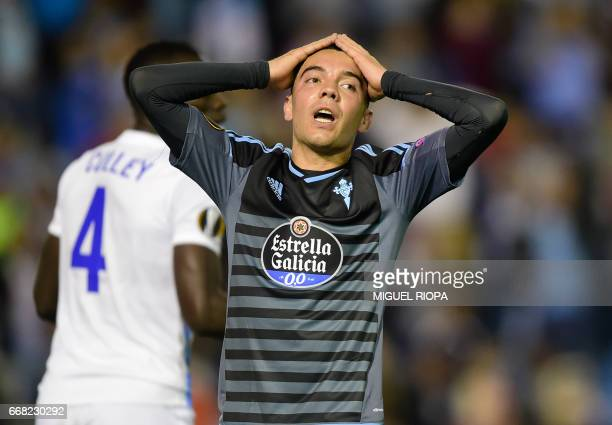 Celta Vigo's forward Iago Aspas gestures after missing a chance to score a goal during the UEFA Europa League quarter final 1st leg football match at...