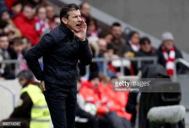 Celta Vigo's head coach Juan Carlos Unzue reacts during the La Liga soccer match between Atletico Madrid and Celta Vigo at Wanda Metropolitano...