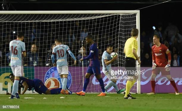 Celta Vigo's Spanish defender Jonny Castro takes the ball after scoring a goal during the Spanish league football match between RC Celta de Vigo and...