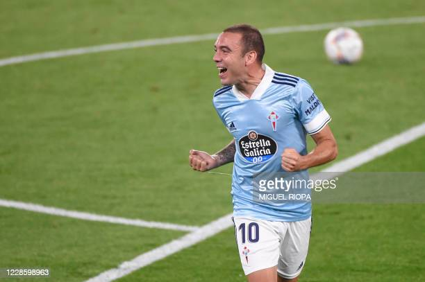 Celta Vigo's Spanish forward Iago Aspas celebrates after scoring a goal during the Spanish league football match between Celta Vigo and Valencia at...