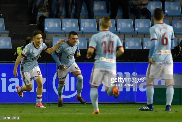 Celta Vigo's Spanish forward Iago Aspas celebrates scoring a goal during the Spanish league football match between Celta de Vigo and FC Barcelona at...
