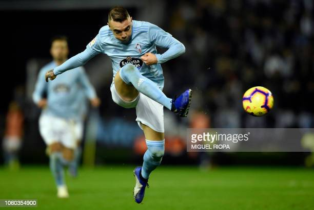 Celta Vigo's Spanish forward Iago Aspas kicks the ball during the Spanish league football match between RC Celta de Vigo and Real Madrid CF at the...