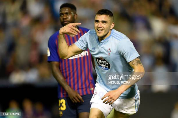 Celta Vigo's Uruguayan forward Maxi Gomez celebrates a goal during the Spanish league football match between RC Celta de Vigo and FC Barcelona at the...