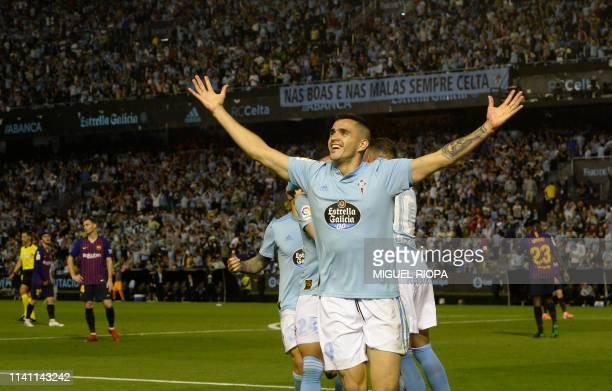 Celta Vigo's Uruguayan forward Maxi Gomez celebrates after scoring a goal during the Spanish league football match between RC Celta de Vigo and FC...