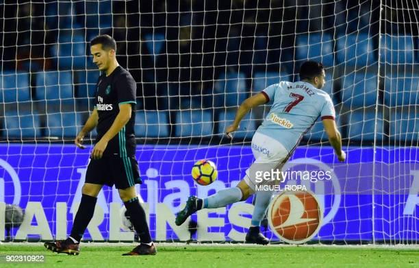 Celta Vigo's Uruguayan forward Maxi Gomez celebrates after scoring a goal during the Spanish league football match Celta de Vigo vs Real Madrid at...