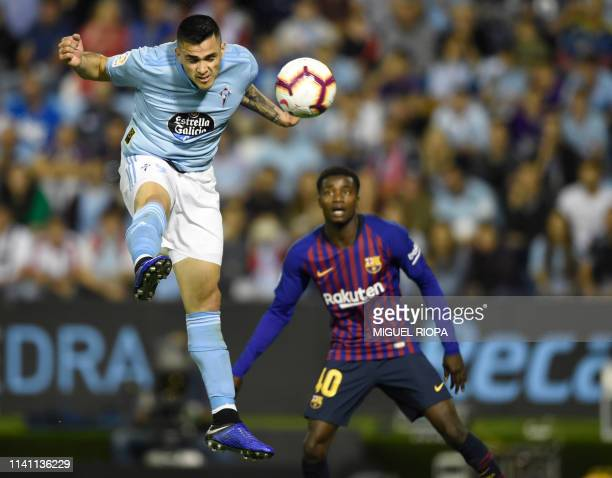 Celta Vigo's Uruguayan forward Maxi Gomez during the Spanish league football match between RC Celta de Vigo and FC Barcelona at the Balaidos stadium...