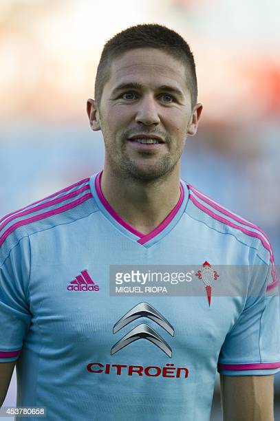Celta's defender Andreu Fontas stands during the official team presentation at the Balaidos Stadium in Vigo on August 16 2014 AFP PHOTO/ MIGUEL RIOPA