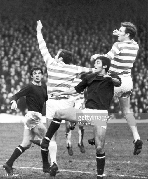 Celtic 20 Dundee United league match at Celtic Park 6th December 1969 Harry Hood and Billy McNeill outjump Dundee's Ronnie Selway Bobby Wilson in...