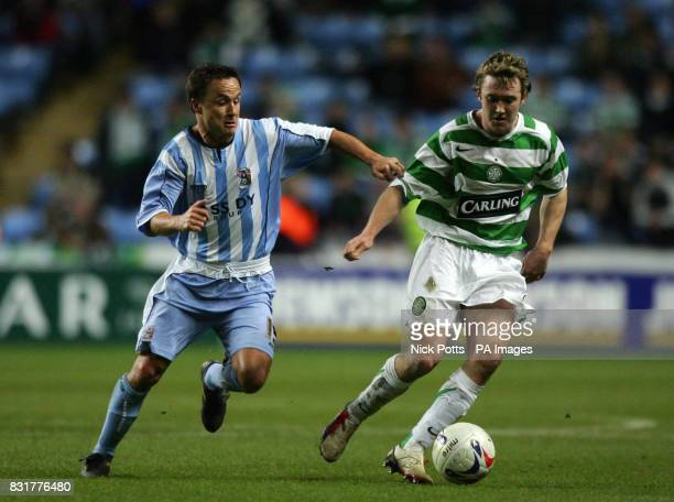 Celtic' Aiden McGeady holds off Coventry City's Dennis Wise during the Richard Shaw testimonial match at the Ricoh Arena Coventry