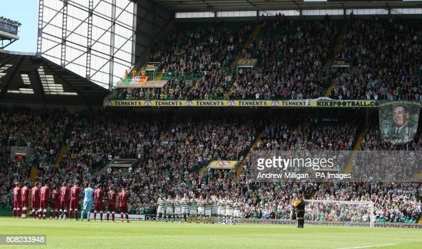 Celtic and Heart of Midlothian players observe a moments applause for the late Jock Stein during the Clydesdale Bank Scottish Premier League match at...
