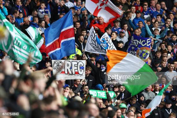 Celtic and Rangers fans show their support prior to the Ladbrokes Scottish Premiership match between Rangers and Celtic at Ibrox Stadium on April 29...