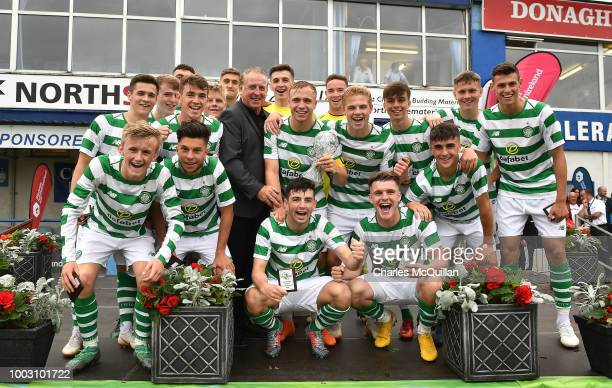 Mani BurghailMellor of Manchester United and Grant Savoury of Celtic during the u19 NI Super Cup gala match at Coleraine Showgrounds on July 21 2018...
