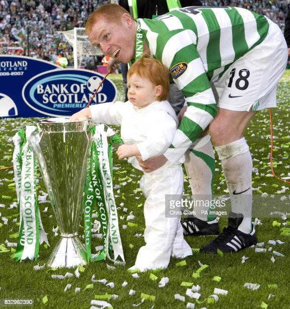 Celtic captain Neil Lennon with his son Gallagher and the Bank of Scotland Scottish Premier League Trophy after the Bank of Scotland Premier League...