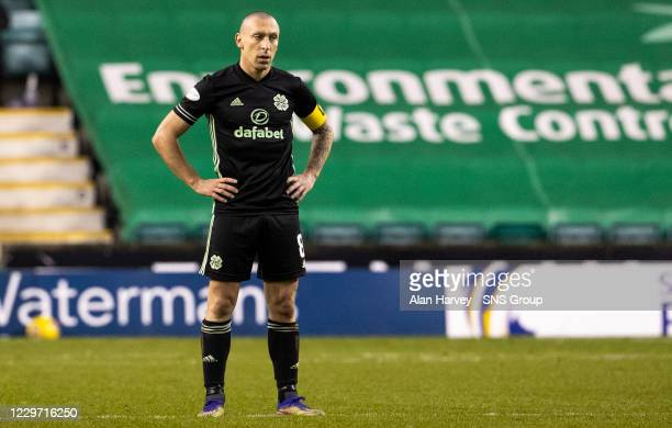 Celtic Captain Scott Brown during a Scottish Premiership match between Hibernian and Celtic at Easter Road on November 21 in Edinburgh Scotland