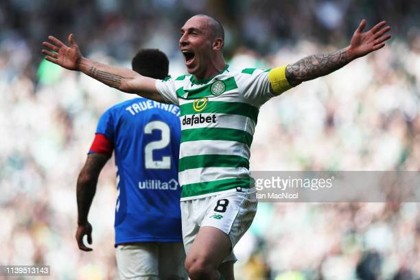 Celtic captain Scott Brown reacts during The Ladbrokes Scottish Premier League match between Celtic and Rangers at Celtic Park on March 31, 2019 in...
