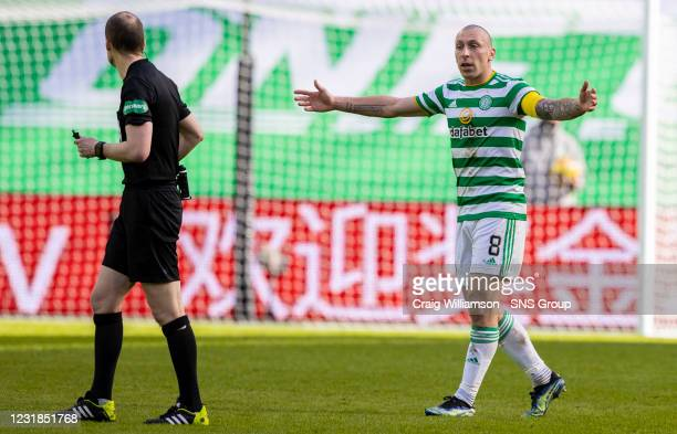 Celtic captain Scott Brown shows his frustration to referee Willie Collum during the Scottish Premiership match between Celtic and Rangers at Celtic...