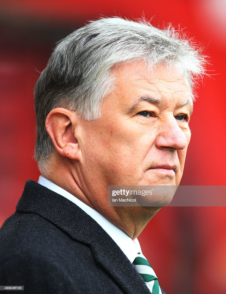 Celtic chairman Peter Lawell looks on during the Ladbrokes Scottish Premiership match between Motherwell and Celtic at Fir Park on October 17, 2015 in Motherwell, Scotland.