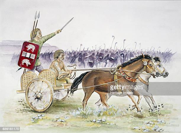 Celtic chariot Iron Age Reconstruction drawing of a horse drawn Celtic chariot and charioteer in Iron Age BritainThe Iron Age was an archaeological...