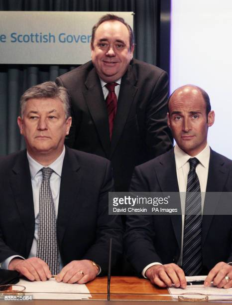 Celtic chief executive Peter Lawwell Rangers chief executive Martin Bain and First Minister Alex Salmond during the Scottish Football Summit in St...