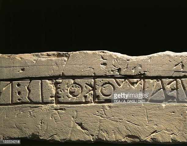 Celtic civilization Italy 6th century bC Inscription with dedication to the deities Detail of Celtic alphabet From Prestino Como province