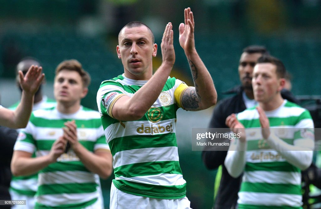 Celtic club captain Scott Brown applauds the crowd at the final whistle as Celtic win 3-0 during the Scottish Cup Quarter Final match between Celtic and Greenock Morton at Celtic Park on March 3, 2018 in Glasgow, Scotland.