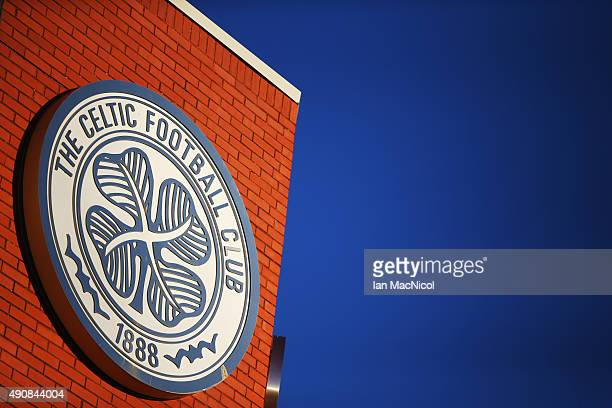 Celtic crest on the wall of the stadium before the UEFA Europa League match between Celtic FC and Fenerbahce SK at Celtic Park on October 01 2015 in...