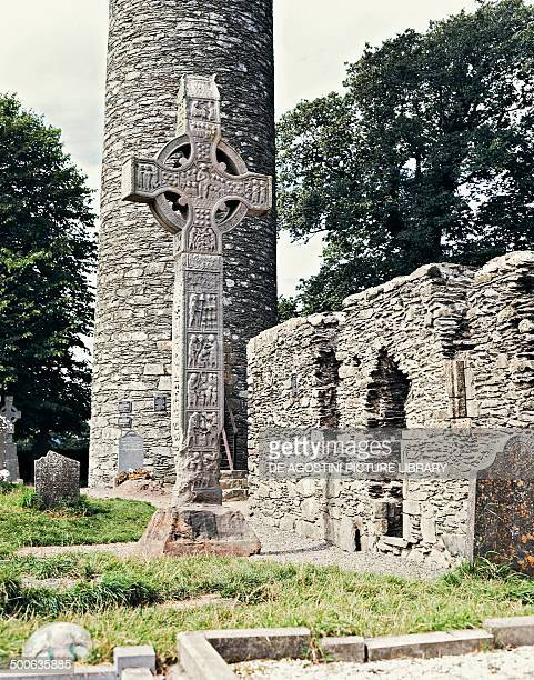 Celtic cross and Round tower in Monasterboice monastic site County Louth Ireland 10th century