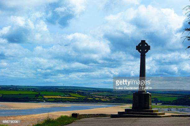 Celtic Cross At Padstow War Memorial Against Landscape