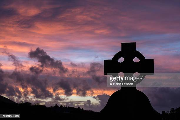 Celtic cross at sunset