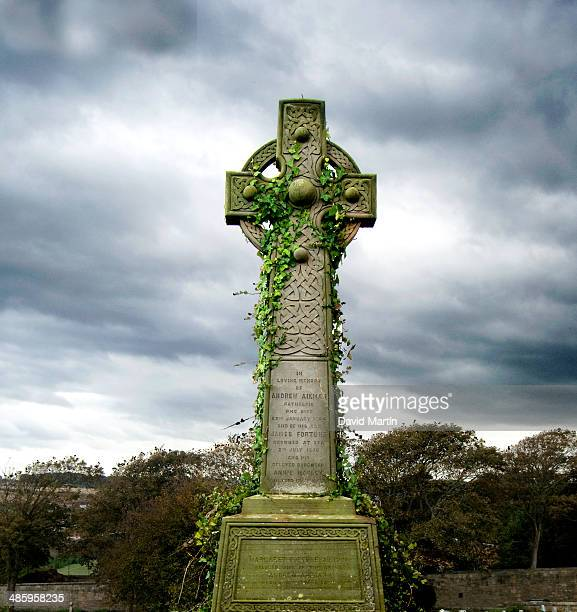 Celtic cross in a graveyard