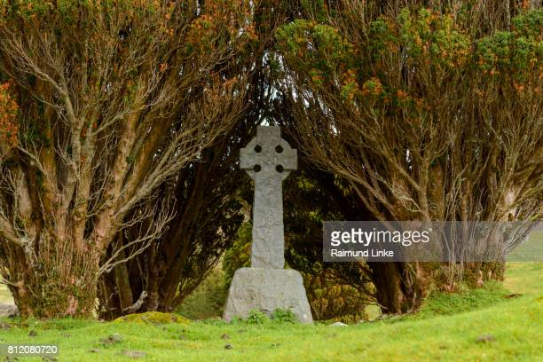 Celtic cross of an abandoned cemetery, Isle of Skye, Scotland, United Kingdom