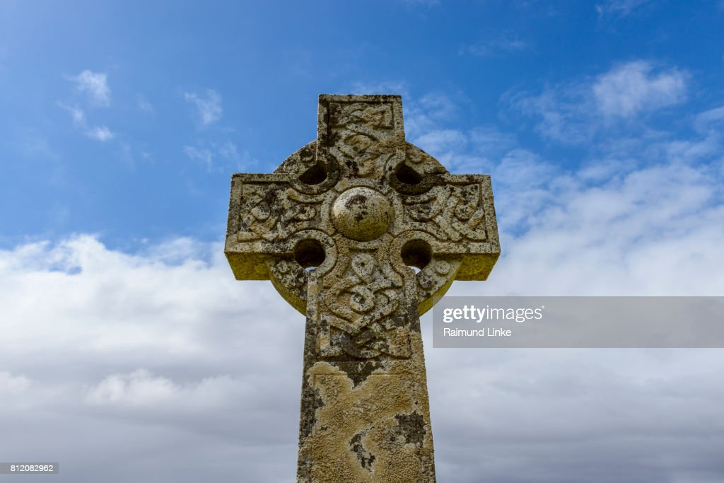 Celtic cross of an abandoned cemetery, Isle of Skye, Scotland, United Kingdom : Stock Photo