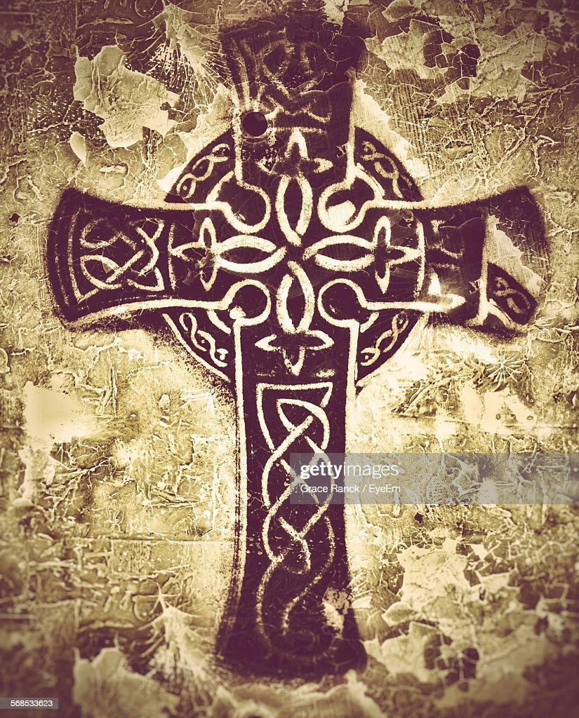 Celtic Cross On Wall : Stock Photo