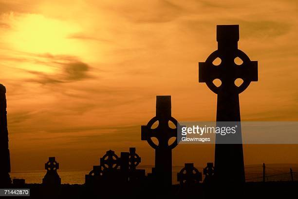 Celtic crosses at dusk, County Clare, Republic of Ireland