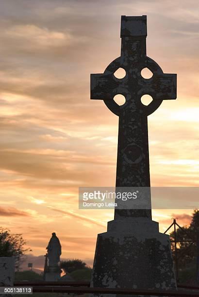 Celtic crosses at sunset