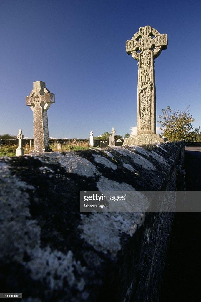 Celtic crosses in a graveyard, Davacliff, Republic of Ireland : Stock Photo