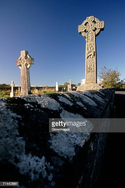 Celtic crosses in a graveyard, Davacliff, Republic of Ireland