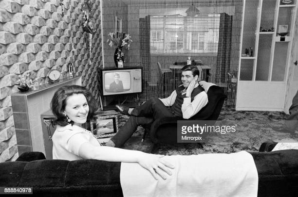 Celtic C's outsideleft John Hughes at home in Tannochside Lanarkshire with his wife Mary 24th January 1968