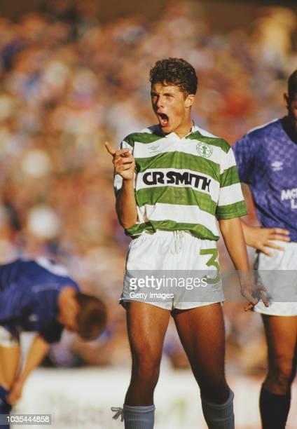 Celtic defender Derek Whyte reacts during the Scottish Premiership match between Rangers and Celtic at Ibrox on October 17 1987 in Glasgow Scotland