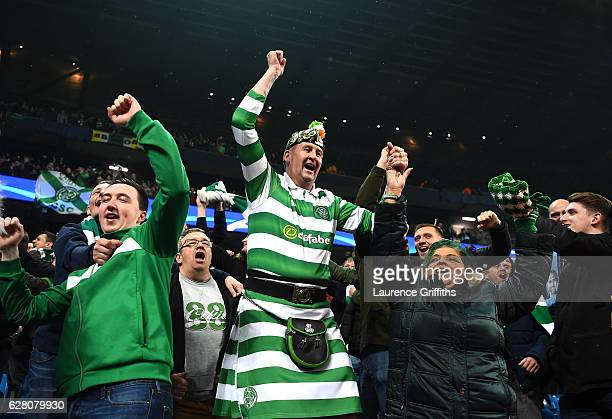Celtic fan celebrates after the final whistle during the UEFA Champions League Group C match between Manchester City FC and Celtic FC at Etihad...