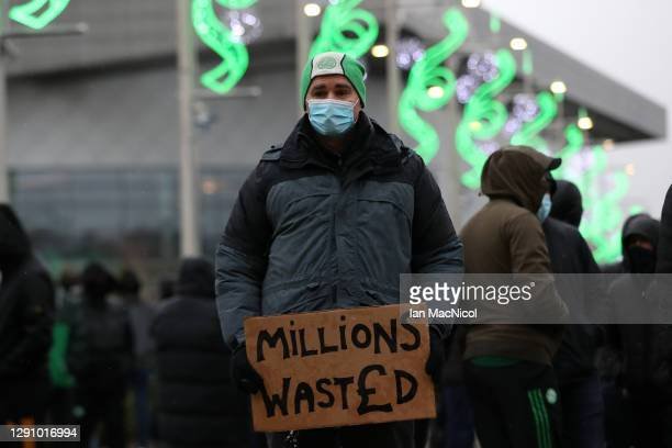 Celtic fan is seen protesting outside the stadium prior to the Ladbrokes Scottish Premiership match between Celtic and Kilmarnock at Celtic Park on...