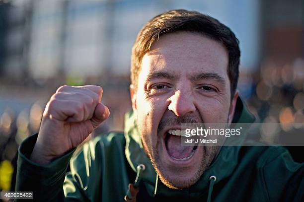 Celtic fan leaves Hampden Park following their 20 win in the League Cup semi final match against Rangers on February 1 2105 in Glasgow Scotland One...