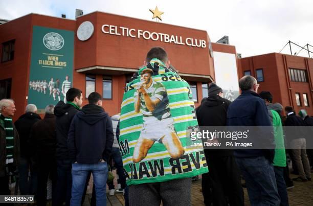 A Celtic fan outside the stadium before the Ladbrokes Scottish Premiership match at Celtic Park Glasgow